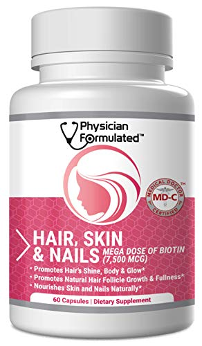 Physician Formulated Healthy Hair Skin and Nails Vitamins for Men and Women - 7500 mcg Biotin, Amino Acids, Collagen and Hyaluronic Acid - 60 Capsules