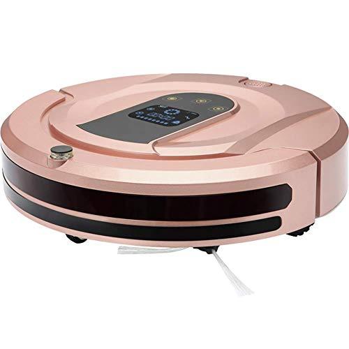 zZZ Zambista Aspiradora robótica, con succión de Potencia máxima de 1800 Pa, Tiempo de ejecución de hasta 120 min, autocargable, silenciosa, para Pisos Duros y alfombras, Dorado (Color : Pink)