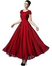 فستان رسمي طويل لحفلات التخرج والاعراس والمكتب والمنزل بلون احمر