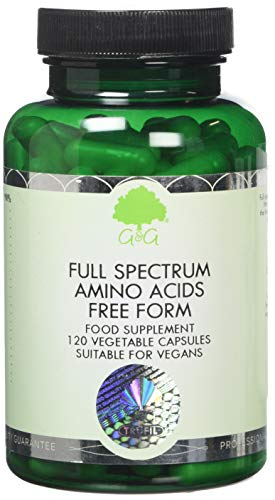 G&G Vitamins Full Spectrum Amino Acid Capsules - Vegan Free Form Amino Acids - BCAA - 120 Capsules