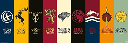 "Póster ""Game of Thrones"" (Juego de Tronos) Sigils (Escudo de Armas) (91,5cm x 30cm) + embalaje para regalo"