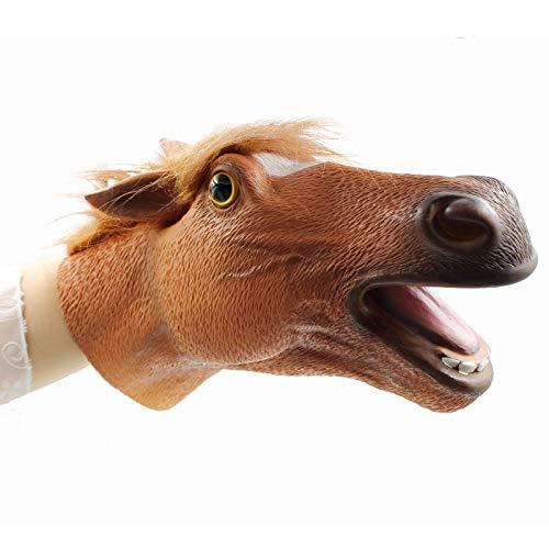 Hanzwa Tier Handpuppe Spielzeug,Weiches Gummi Realistischer Pferd Kopf Braun