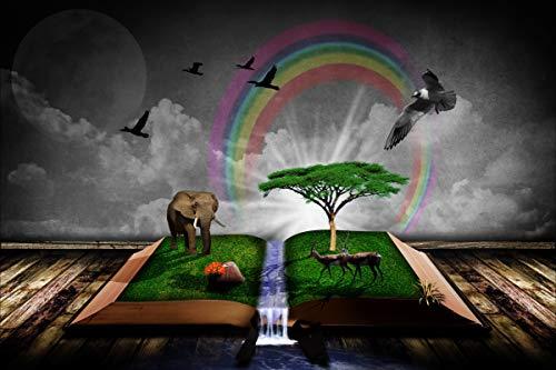 1000 stukjes puzzel Boek fantasie, vogels zoals Afrikaanse jungle, wolken, regenboogcreativiteit 75x50cm