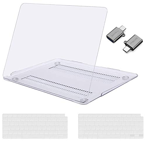 MOSISO MacBook Air 13 inch Case 2020 2019 2018 Release A2179 A1932, Plastic Hard Shell Case&Keyboard Cover&Type C Adapter 2 Pack Compatible with MacBook Air 13 inch with Retina Display, Crystal Clear