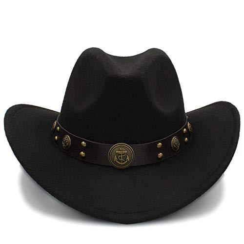 GR 100% Sombreros de Vaquero de Lana Sombreros de Fieltro Occidentales de Invierno para Adultos Sombreros de Vaquero para Hombres Sombreros Vaquero Occidental (Color : Negro, tamaño : 56-58cm)