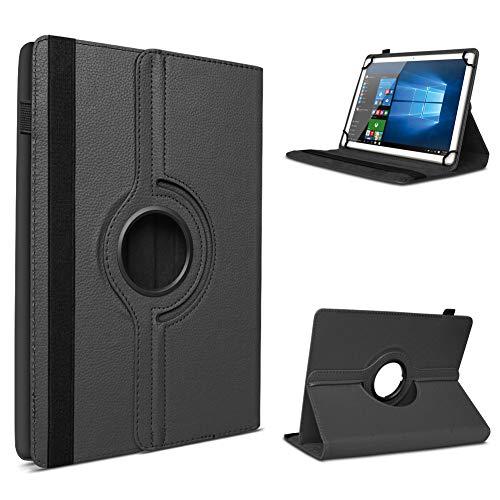 UC-Express Tablet Hülle kompatibel für Vodafone Tab Prime 6/7 Schutzhülle aus Kunstleder Tasche mit Standfunktion 360° drehbar Universal Cover Hülle, Farben:Schwarz