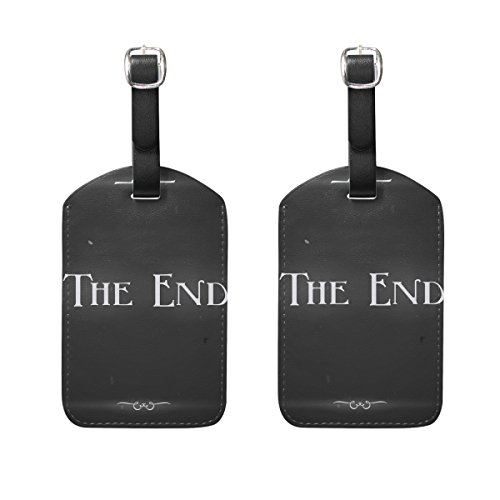 COOSUN Movie Ending Screen Luggage Tags Travel Labels Tag Name Card Holder for Baggage Suitcase Bag Backpacks, 2 PCS