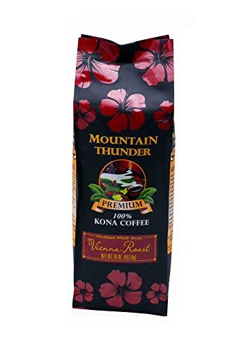 100% Kona Premium Coffee - 1 Pound Premium Gourmet Vienna Roast Whole Bean by Mountain Thunder Coffee Plantation