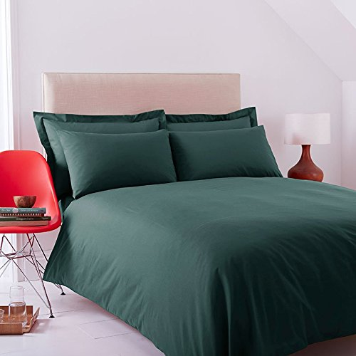 Charlotte Thomas Double Size Polycotton Duvet Cover Set in Bottle Green