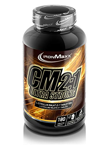 IronMaxx Citrullin Malat Ultra Strong - 180 Tabletten - L-Citrullin Malat im Ideal-Verhältnis 2:1 - Perfekte Löslichkeit - beliebt für Krafttraining und Muskelaufbau - Designed in Germany