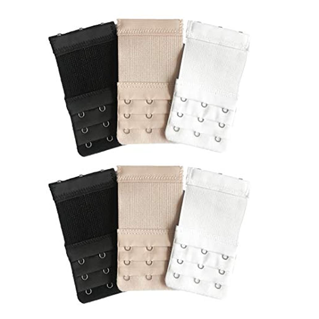 Shuxy Bra Extender 6 Pieces Elastic Lingerie Extenders Extension Strap Bra Band Breathing Black White and Nude - 3 Hooks 3 Rows
