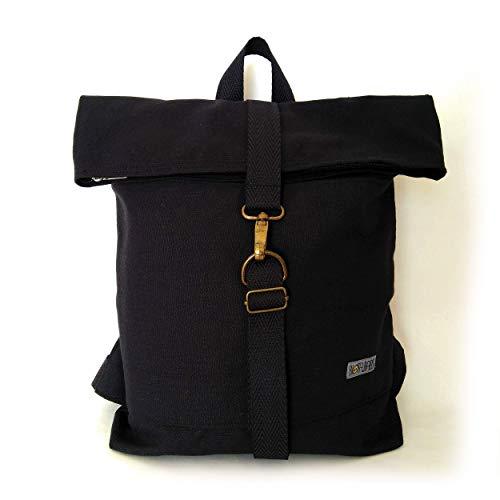 Mochila Negra de algodón, minimalista, unisex, artesanal