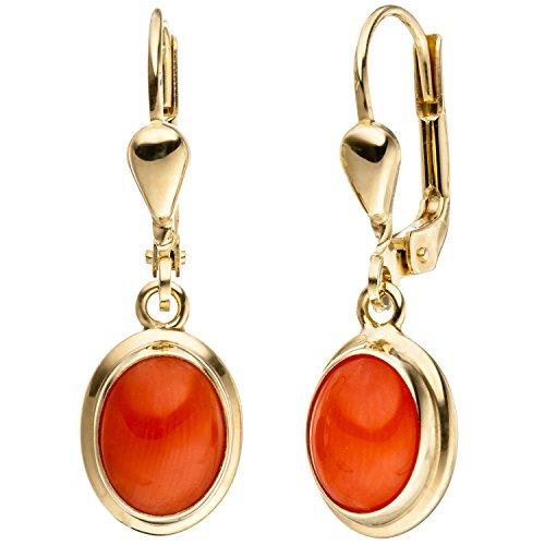 JOBO Damen-Ohrhänger aus 333 Gold mit Koralle Oval