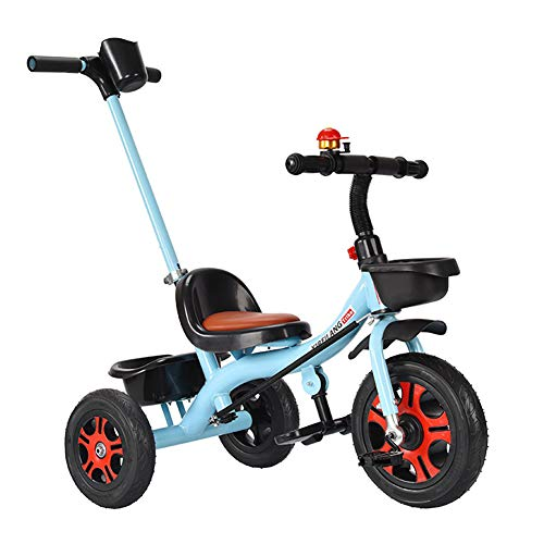 Smart panda Kinder Laufrad Spielzeug - Kinder Dreirad - mit Schiebegriff, Rücksitz, Gummirad, maximale Belastung 30 kg, Blue