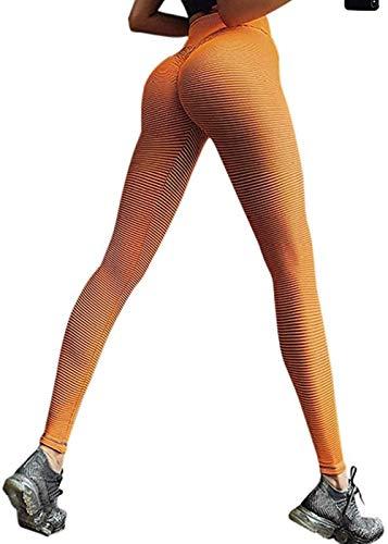 TIK Tok LeggingsSexy Butt Lifting Leggings für Damen, Wabenmuster, hohe Taille, Workout-Strumpfhose, 58 _ Orange _ Medium