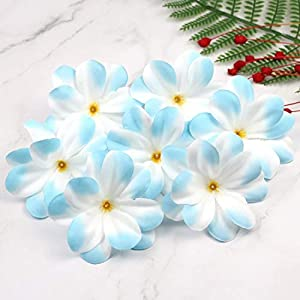 Artificial and Dried Flower 12pcs/Lot Light Blue Artificial Silk Flowers Plumeria Frangipani Heads 3 inches for Wedding Garland