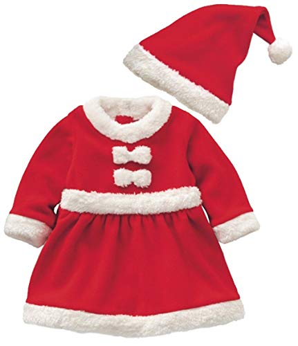 3PCS Baby Boys Girls Santa Claus Suit Kids Christmas Costume Cosplay Set Santa Christmas Outfits Set Size 6-12Months/Tag80 (Red2)