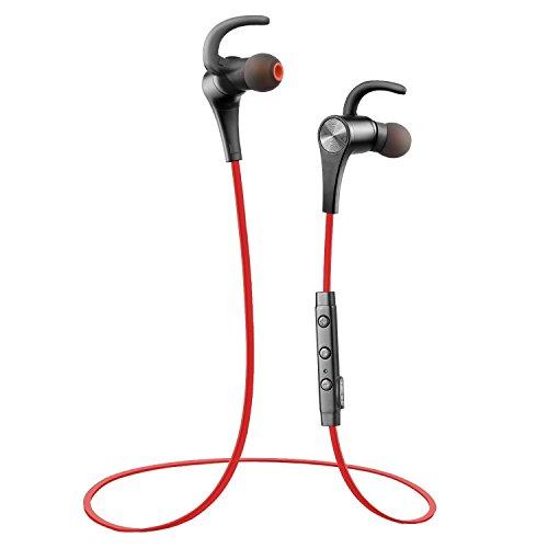 Soundspeats - Cuffie Bluetooth Auricolari Wireless microfono integrato per iPhone, Galaxy, Tablet, MP3 - Rosso