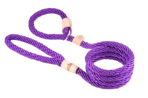 Alvalley Purple Sport Slip Lead with Leather Stop for Dogs Made of Strong Multifilament Rope 13mm X 183cm or 1/2in X 6ft