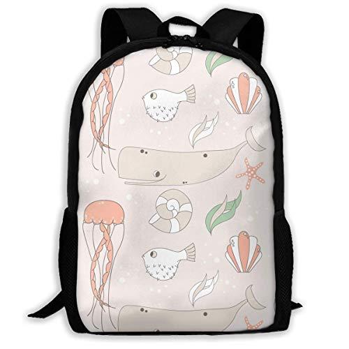 hengshiqi Mochila Backpack, Travel Backpack Laptop Backpack Large Diaper Bag - Whale Drawing Backpack School Backpack for Women & Men