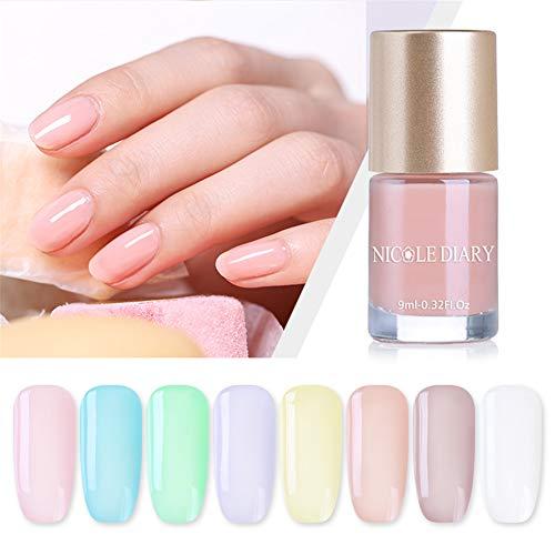 NICOLE DIARY Quick Dry Nail Polish Translucent Jelly Nail Polish Nude Series Color Bright Enamel...