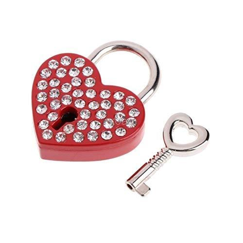 ZAOPP Clave Viejo Estilo Antiguo De La Vendimia Mini Archaize El Corazón Candados De Bloqueo De Teclas con (Color : Red)