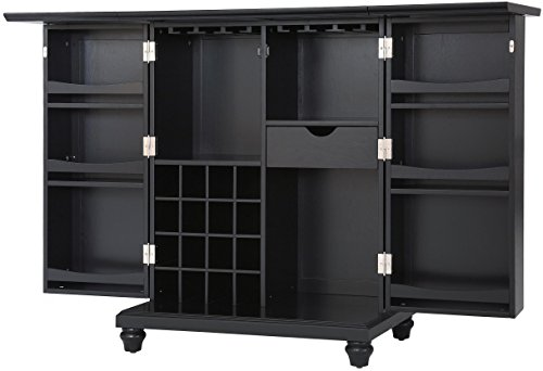 Crosley Furniture Cambridge Expandable Top Bar Cabinet, Black