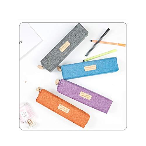 zyh Estuche de lápices,Estuche para lápices Similar al Lino,Duradero,no es fácil de deformar,Cuatro Colores Naranja,Azul,Morado y Gris están Disponibles,un Paquete