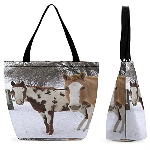 ZONfind Shopping Bag for Ladies Winter Squint Winter Horses Horse Chestnut Mane Rail Equestrian Piebald Fence Barn Reusable Multipurpose Bag