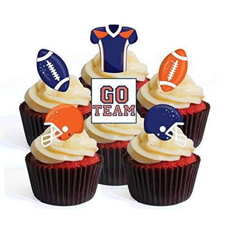 Lot de 24 décorations de cupcakes en forme de ballon de football NFL GFL Superbowl bleu orange sur le thème #1 Edible Cupcake Toppers – Stand Up Wafer Cake Decorations