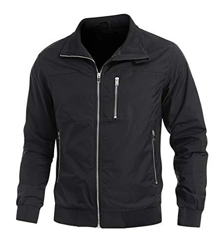 KEFITEVD Leichte Jacke Herren Übergangsjacke mit Vielen Taschen Sommer Frühling Blouson Jacke mit Durchgehendem Reißverschluss Schwarz L
