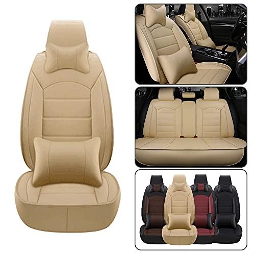 Dinuoda Fundas de asiento de coche de lujo PU cojín de cuero conjunto completo 5 asientos para Lexus RX RX330 RX350 RX400H RX450H cojín cojín de protección de asiento (beige)