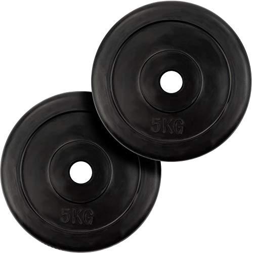 ScSPORTS Hantelscheiben-Set, 2 x 5 kg, Gummi Gewichte, 30/31 mm Bohrung