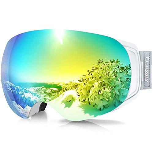 findway Gafas de esquí, OTG Snowboard con imán intercambiable, gafas de invierno y nieve, protección UV, casco compatible con hombres y mujeres