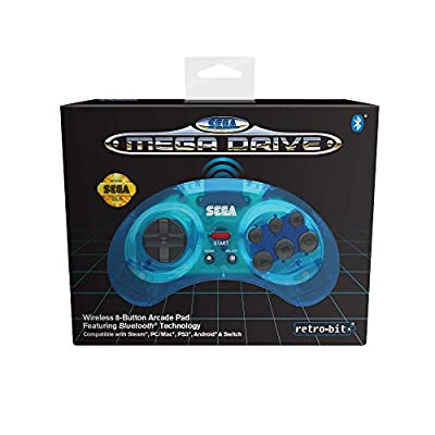 Retro-Bit Official SEGA Mega Drive Wireless Bluetooth Controller 8-Button Arcade Pad for PC, Switch, Mac, Steam, RetroPie, Raspberry Pi - Clear Blue