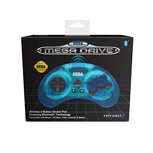 Retro-Bit Official SEGA Mega Drive Wireless Bluetooth Controller 8-Button Arcade Pad for PC, Switch, Mac, Steam, RetroPie, Raspberry Pi - Clear Blue