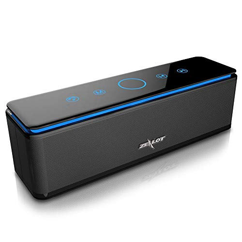 Zealot S7altoparlante Bluetooth portatile batteria esterna 10000mAh 26W 4altoparlanti 24ore di autonomia Subwoofer Bassi potenti controllo tattile ai/Micro scheda SD/TF/microphone-noir