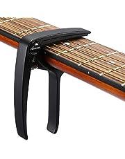Asmuse Professional Capotasto Universale Nero Capo High quality Zinc Alloy per Chitarra Acustica Per Chitarra Ukulele Banjo Folk Jazz Elettrica Basso con 3 Plettri