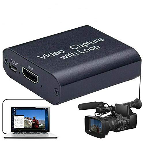 Scheda di Acquisizione Video HDMI con Uscita Loop, USB 2.0 1080p Dispositivo di Acquisizione Video HDMI Supporta VLC, OBS, Amcap, Software e Fotocamere, Computer, Telefoni Cellulari, Set-Top Box, PS4