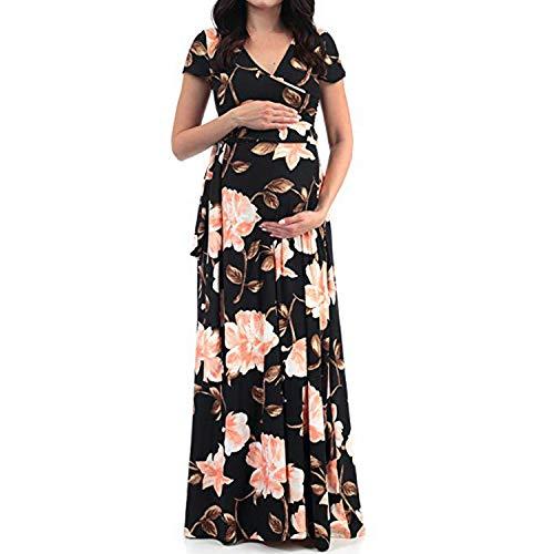 Eghunooye Damen Umstandskleid Kurzarm Schwangerschafts Kleider mit Blumendruck Maternity Kleidung Sommerkleid Wickelkleid Maxikleid Schwangerschaftskleider (Schwarz, XL)