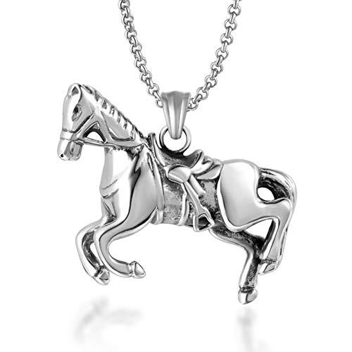 N / A Collar Colgante Joyas Pony Titanio Acero Año del Caba