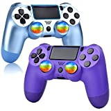 YU33 Titanium Blue and Purple Wireless Controller Compatible with P - 4 with 4 Rainbow Caps with Charging Cable/Double Shock/Touch pad/Audio Function(,2021 New Model Joystick
