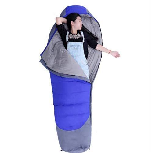 CATRP-Sac de couchage Momie Extérieur en Automne Et en Hiver avec Coutures Extérieures Ultra G 1800 Duck Down -25 Degrees (Color : Blue, Size : L)