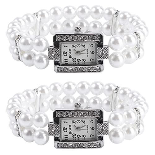 UKCOCO 2 Piezas de Relojes de Pulsera de Cuarzo Perlado con Pulsera de Imitación de Perlas Brillantes para Mujeres Y Niñas