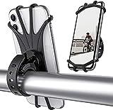 BOLTHO Supporto universale per cellulare da bicicletta, girevole a 360°, in silicone, per smartphone da 4,0 a 6,5 pollici, colore: nero