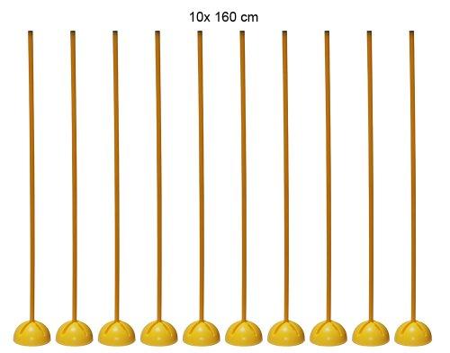 Boje Sport - Set di 10 Supporti a X con 10 aste da 160 cm (2 x 80 cm con Chiusura a innesto) ø 25 mm per Sport di Squadra e Allenamento di coordinazione - Colore: Giallo