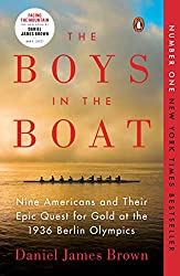 book cover red writing boys in the boat