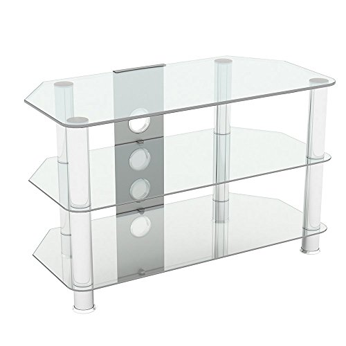 """King Glass TV Stand for HD LED LCD 4K 8K QLED TVs up to 42"""" inch by TV Furniture Direct (80cm, Clear Glass, Chrome Leg)"""
