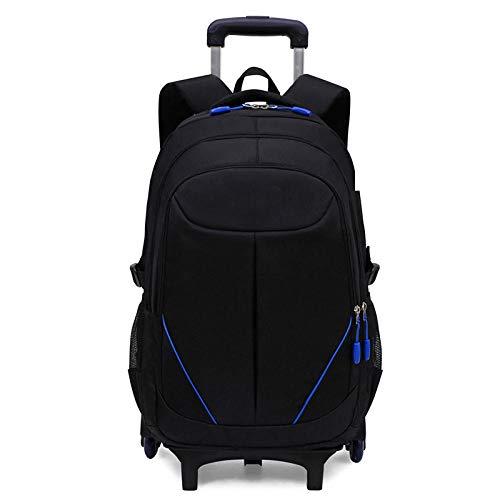 ZZLHHD Trolley Bag School,Boys tie bag, large capacity backpack-blue_Two rounds,Waterproof Trolley School Bag