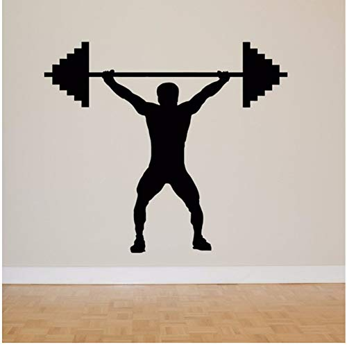 Wall Art Vinyl Lifting Weight Wall Stickers Sport Gym Decoration Removable Gym Room Wall Art Mural Sports Man Wall Decals 66x57cm